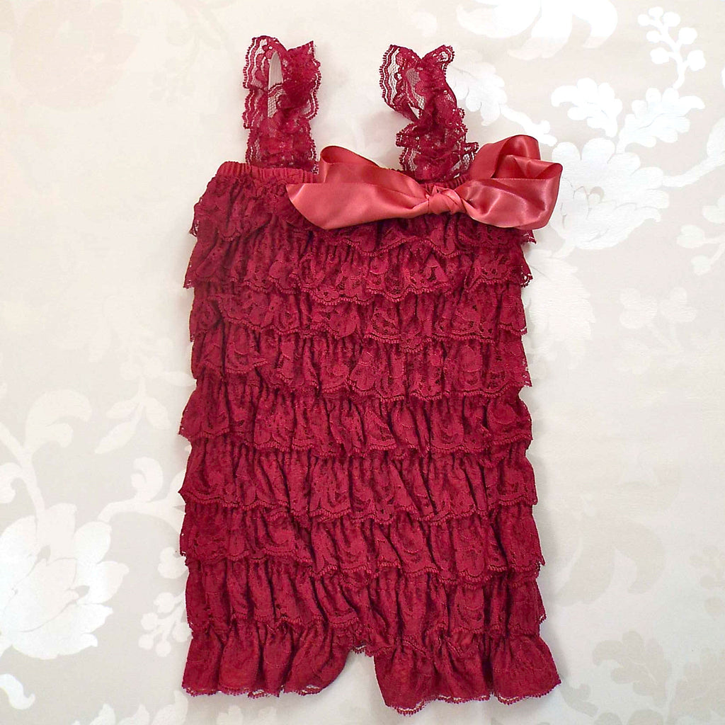 Royal Raspberry Lace Romper
