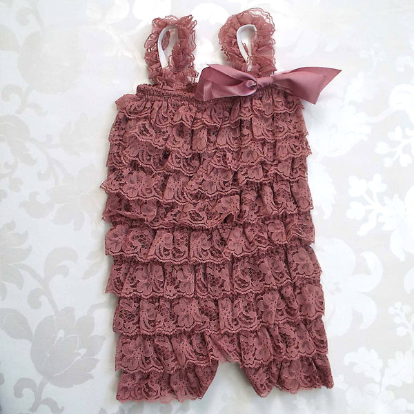 Dusty Mauve Lace Romper