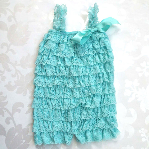 Mint Blue Lace Romper