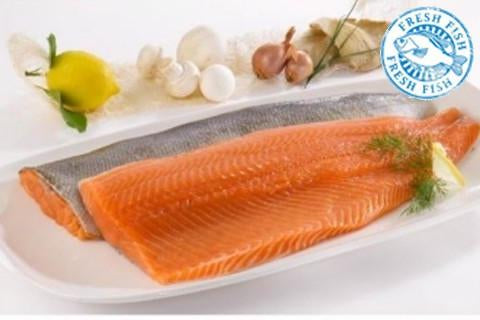Atlantic Salmon Sides/Fillet <br><b>$15.95/lb</b> 3.5 lb size