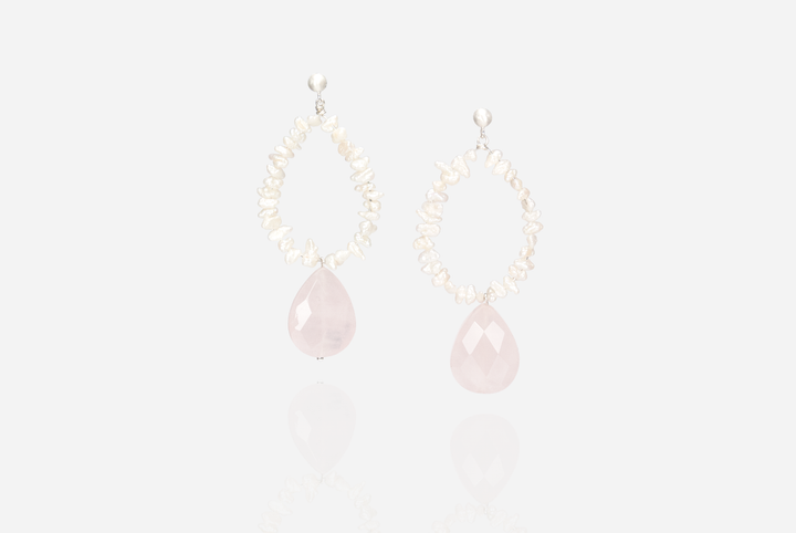 Bijoux Rose Quartz Drop Earrings
