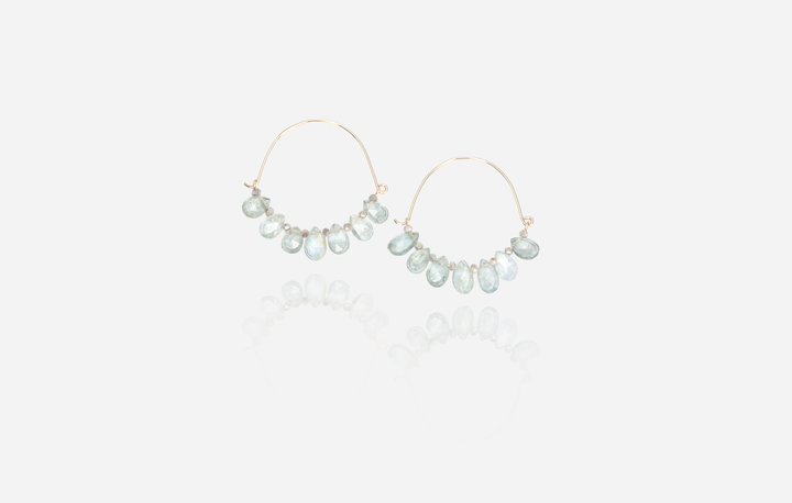Bijoux Aquamarine Hoop Earrings
