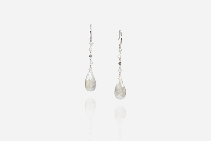 Bijoux White Sapphire Drop Earrings