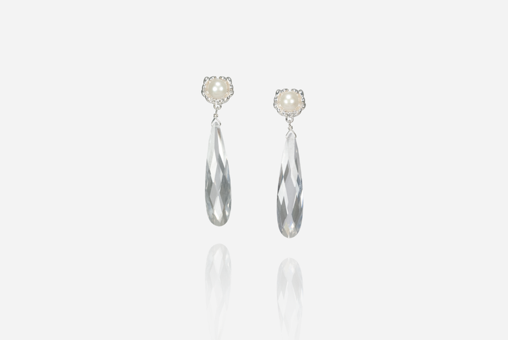 Olivia Pearl Drop Earrings, Crystal