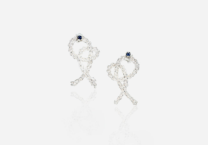 Pretzel Earrings With Sapphires