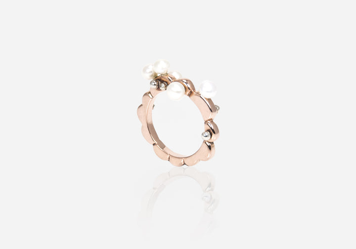 Rosy Scallops Maxi Pearl Ring