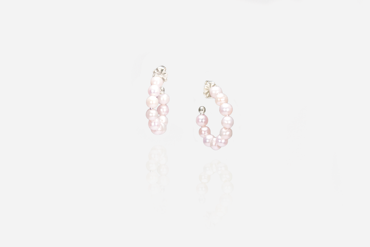 String Of Pearls Rose Hoop Earrings