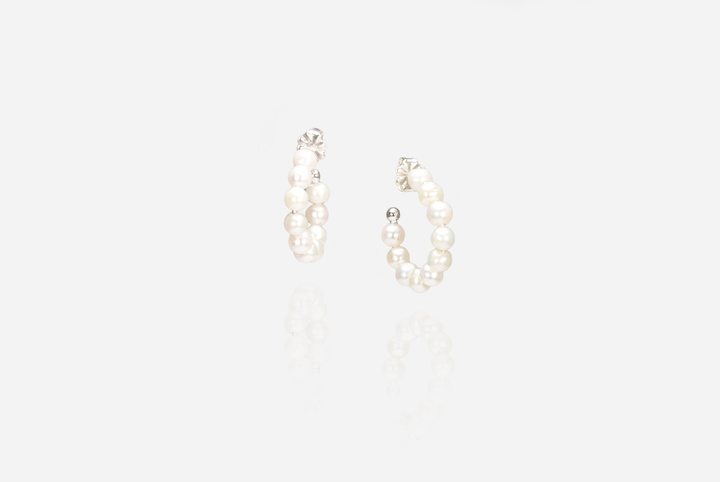 String Of Pearls Hoop Earrings