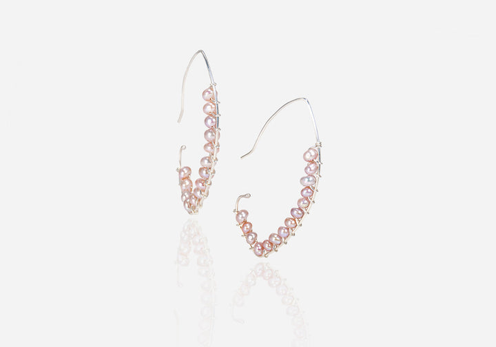 String of Pearls Rose Pearl Drop Earrings
