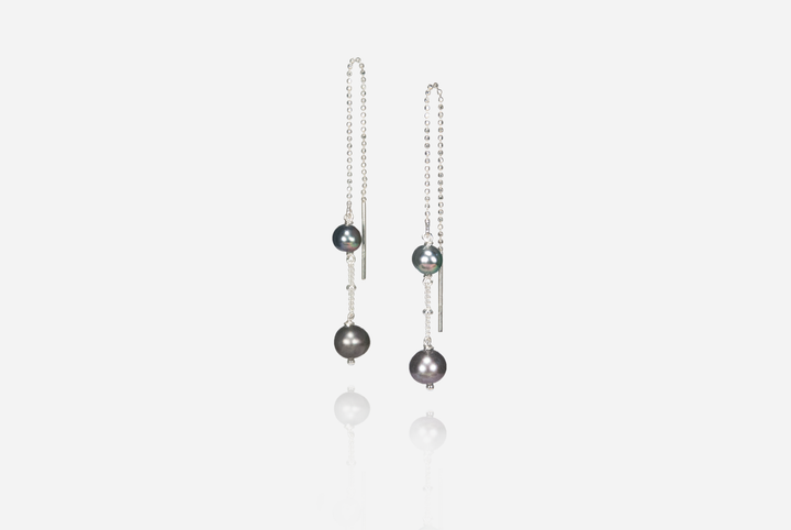 String Of Pearls Deep Sea Pearl Threader Earrings