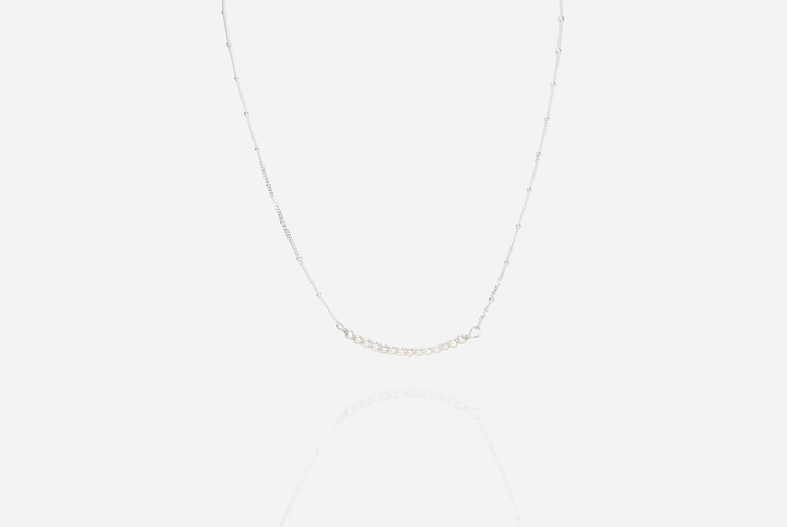 String of Pearls Cream Bar Necklace