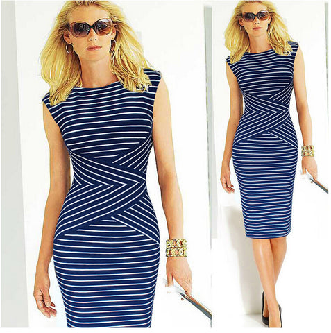 Slimming Striped Dress