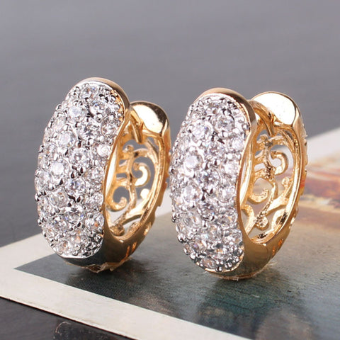 Round Crystal 18k Gold Platinum Plated Hoop Earrings
