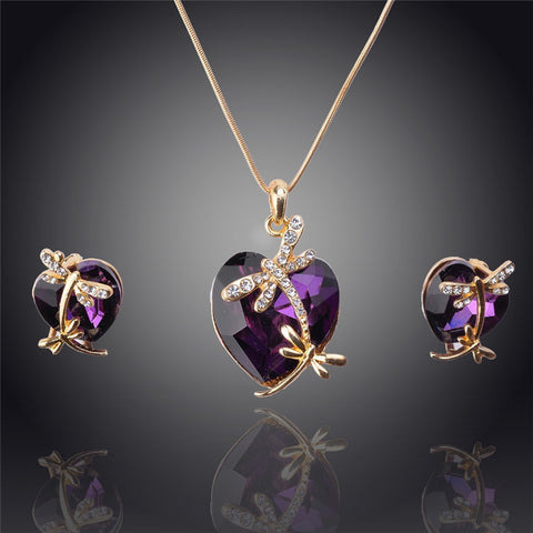 18k Gold Filled Austrian Crystal Animal Pendant Necklace Earrings