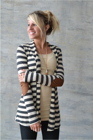 Striped Cardigan Long Sleeve Elbow Patchwork