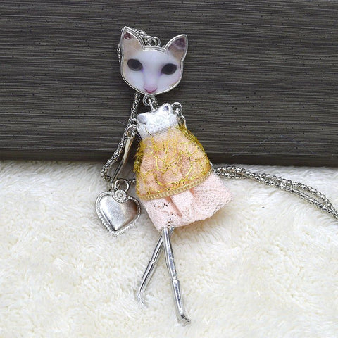 Cat Face Girl Doll Necklace