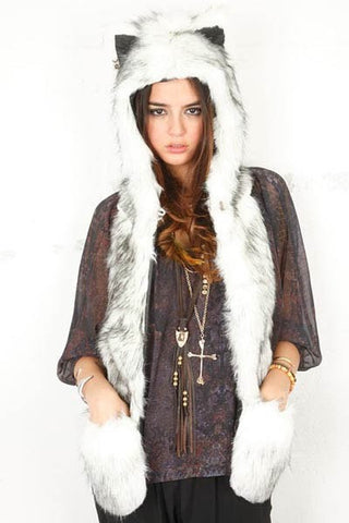 Faux Fur Hood with Scarf Gloves
