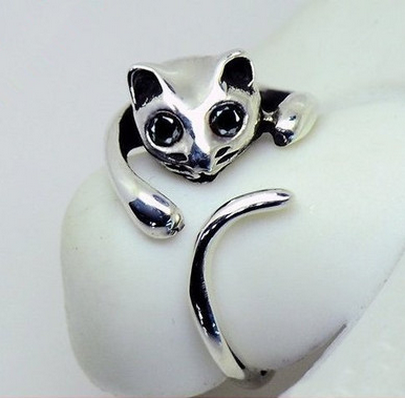 Silver Cat Adjustable Ring