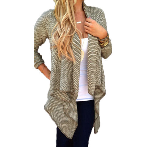 Loose Knit Waterfall Cardigan Long Sleeve Irregular Sweater