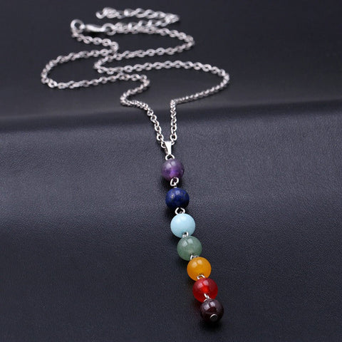 Reiki Healing Chakra Gem Beads Necklace