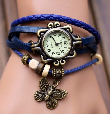Retro Weave Around Leather Bracelet Watch