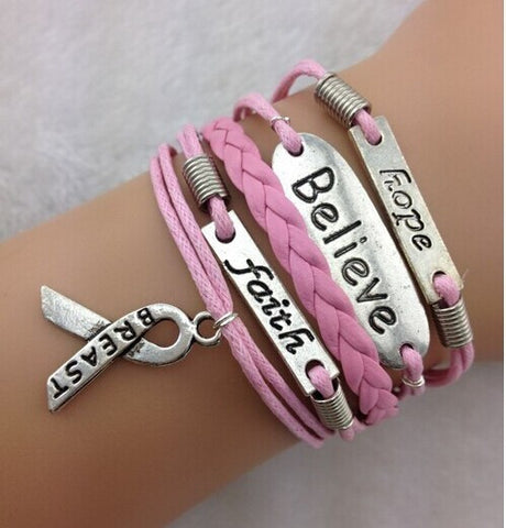Breast Cancer Ribbon Bracelet with Words Hope/Faith/Believe