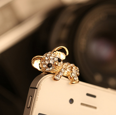 Koala Anti Dust Phone Plug- 18K Gold Plated For iPhone Samsung