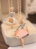 Ballet Dancer Necklace - 18K Gold Plated Crystal Jewelry