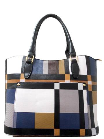 Barbados Leather Multicolor Plaid Purse