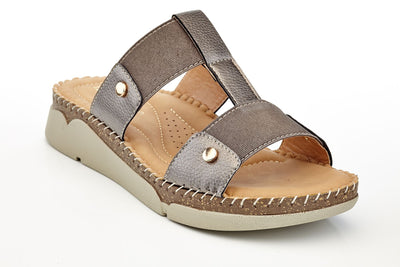 Henry Ferrera Women's Lightweight Slip-on Flat Sandals with Elastic Instep