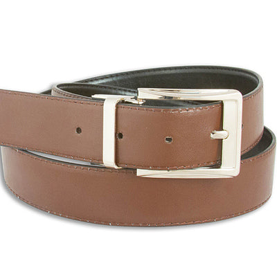 2 Pack; Men's Reversible Black/Brown Leather Belt