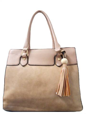 Fashion Tote Leather Beaded Tassel Handbag