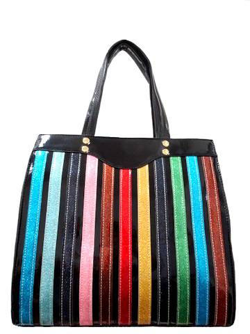 Colorful Stripe Satchel Handbag