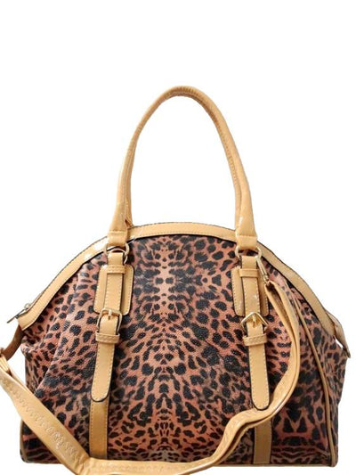Leopard Print Leather Blend Satchel Bag