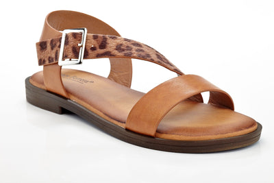 Henry Ferrera Women's Criss-Cross Leopard Fashion Buckle Casual Comfort Sandals