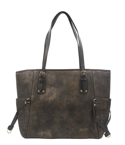 Solid Design Leather Tote