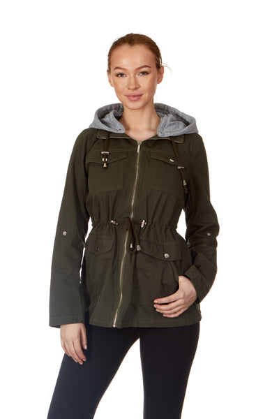 Twill Contrast-Hood Anorak Rain Jacket - Women & Plus
