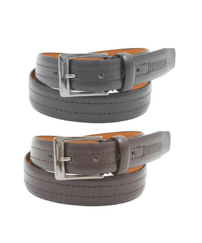 2 Pack: Mens Black & Brown Leather Belts (J507)