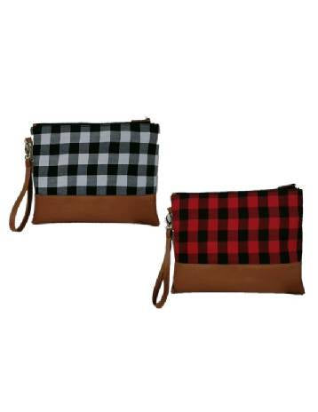 Buffalo Plaid Clutch Wristlet
