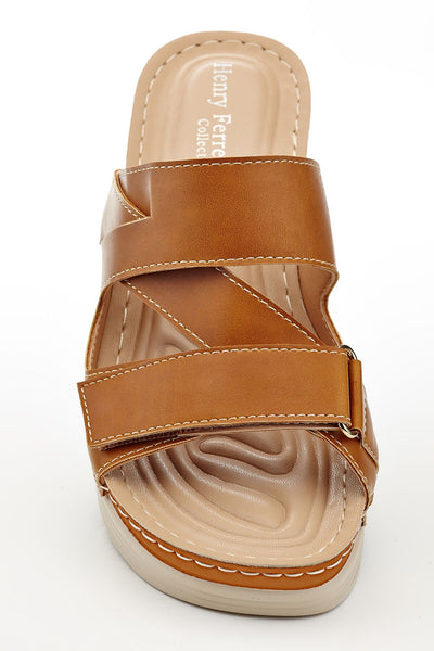 Henry Ferrera Women's Slip-On Multi-Strap Wedge Sandals