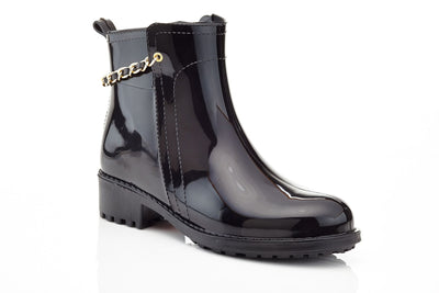 Women's Above-Ankle Glossy Heeled Rocker Rain boots