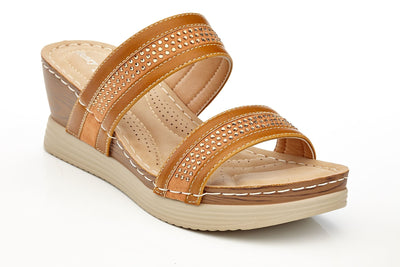 Henry Ferrera Women's Comfort Double Strap Studded Wedge Sandal Slides