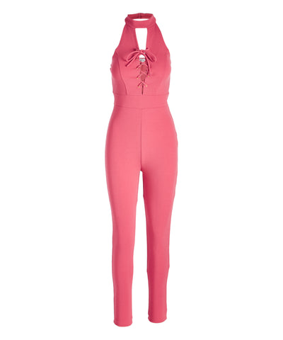 Lace-Up Front Halter Jumpsuit - Women