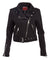 Black Belted Faux Suede Moto Jacket