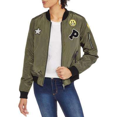 Yoki Satin Bomber Jacket With Smiley Patch Junior and Plus sizes