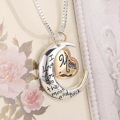I love you to the Moon and Back Mom Pendant Necklace