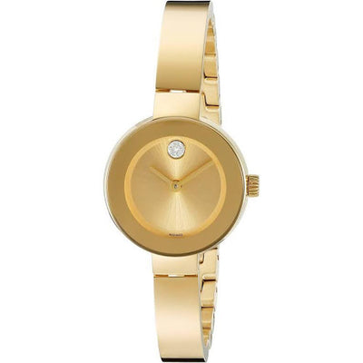 Movado Women's BOLD Yellow Gold Watch with a Flat Dot Sunray Dial