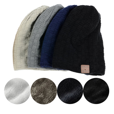 Knitted Velvet Bluetooth Winter Beanie