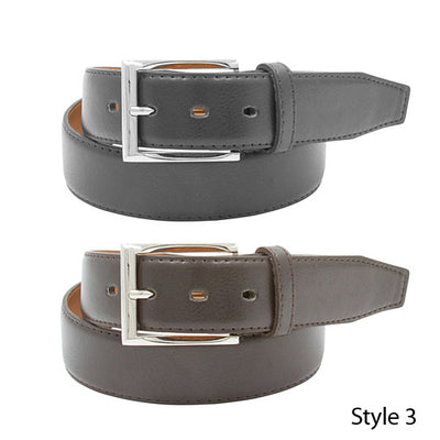 2 Pack: Men's Black & Brown Genuine Leather Belts