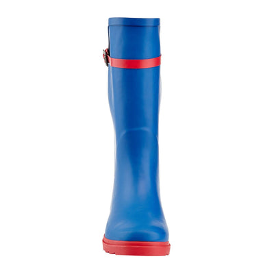 Women's Two-Tone Pull-On Knee-High Rain Boots with Fashion Belt
